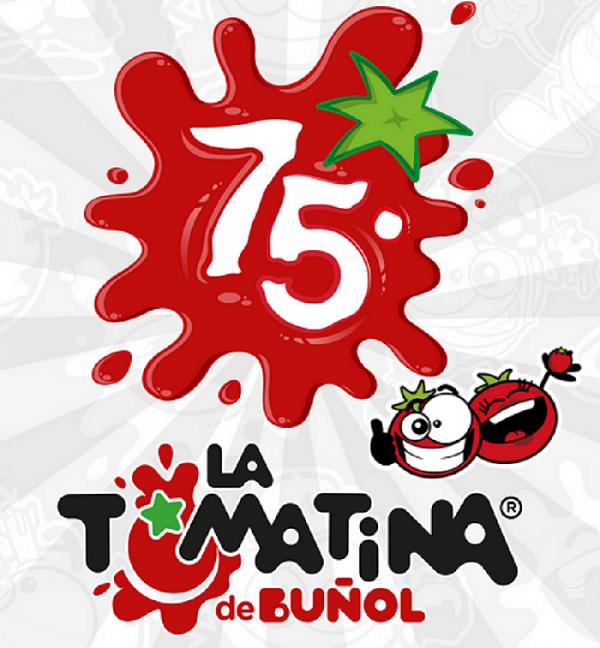 Logo del 75 aniversario de la Tomatina de Buñol.
